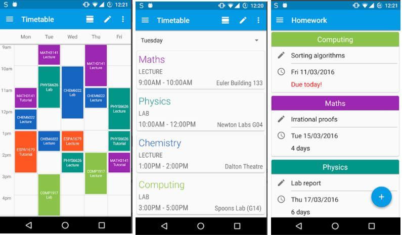time table productivty app for studends