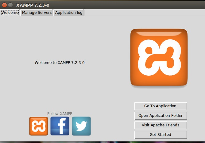 XAMPP control panel on Ubuntu
