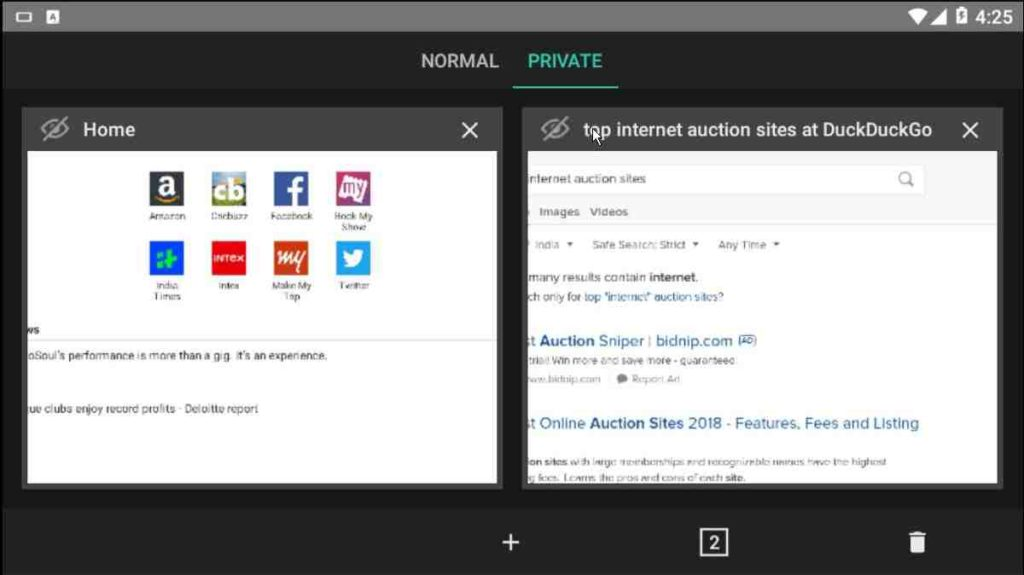 Amazon browser general tabs and private tabs