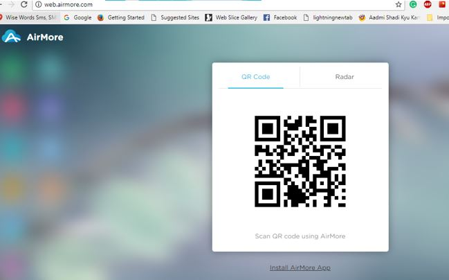 airmore qr code to scan and connect