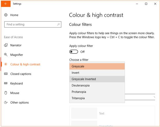 Choose color filter in windows 10