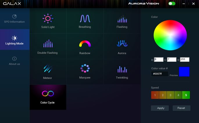 GALAX Aurora Vision RGB lighting control software
