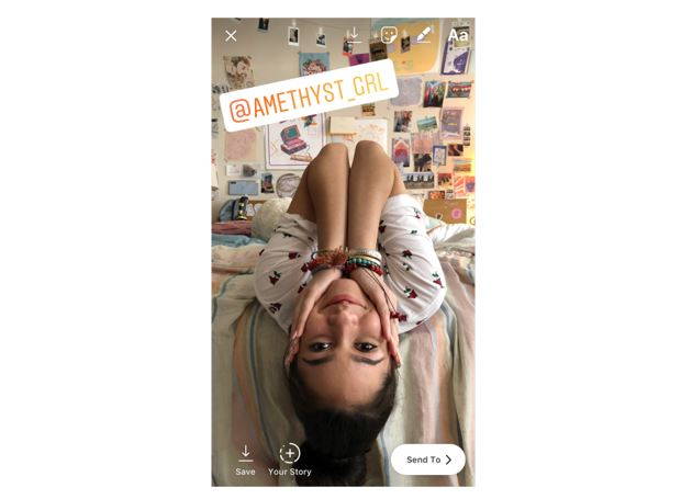 Instagram mention sticker on iOS