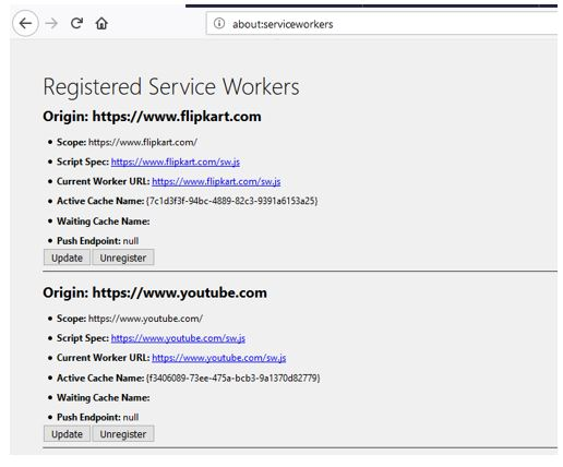 Registered Service Workers firefox