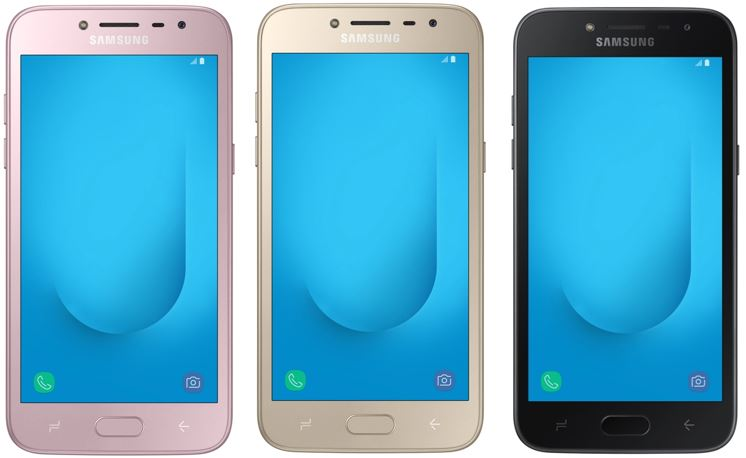 Samsung Galaxy J2 2018 in Gold, Pink and Black colors
