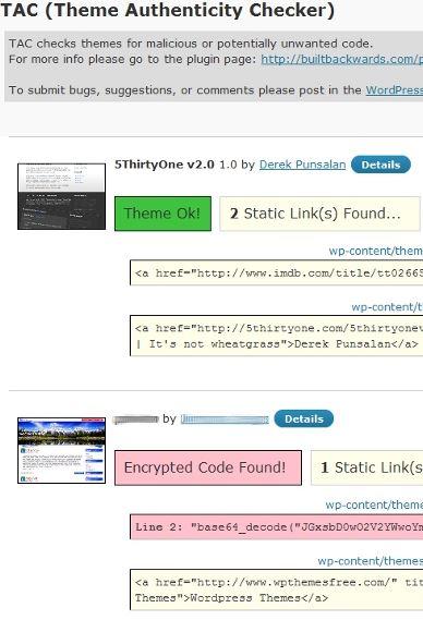 Theme Authenticity Checker (TAC) malacious code checker