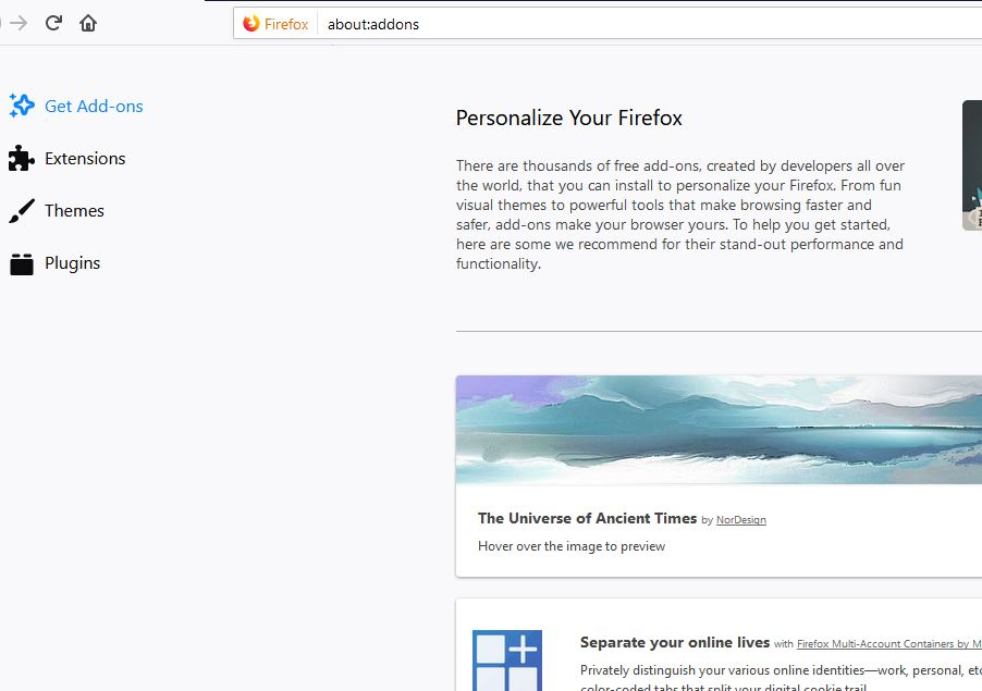 about addons command to Personalize Your Firefox