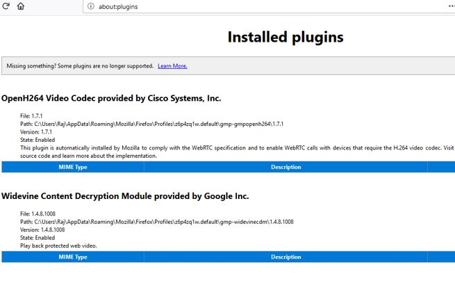 command to know about the installed plugins of the Firefox quantum