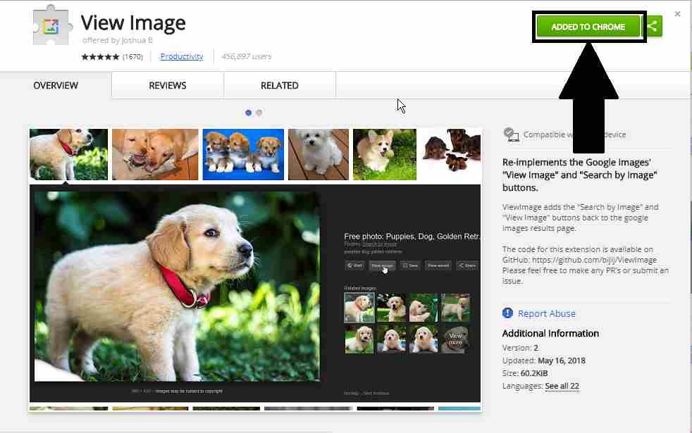 get back view image in chrome