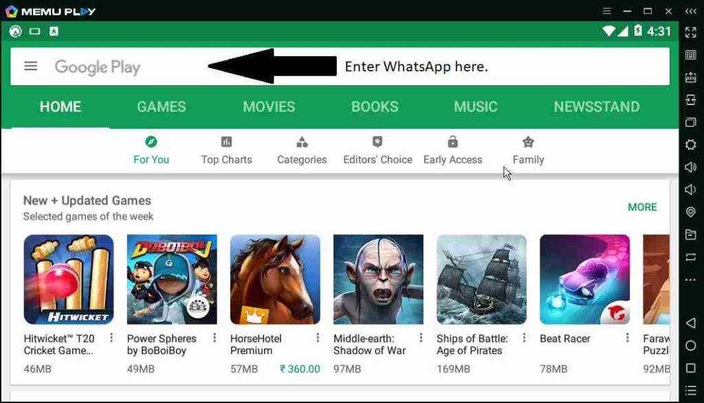 WhatsApp Messenger on Android emulator