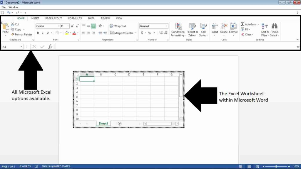 insert an Excel spreadsheet into Word