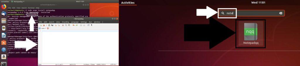 open Notepadqq on Ubuntu