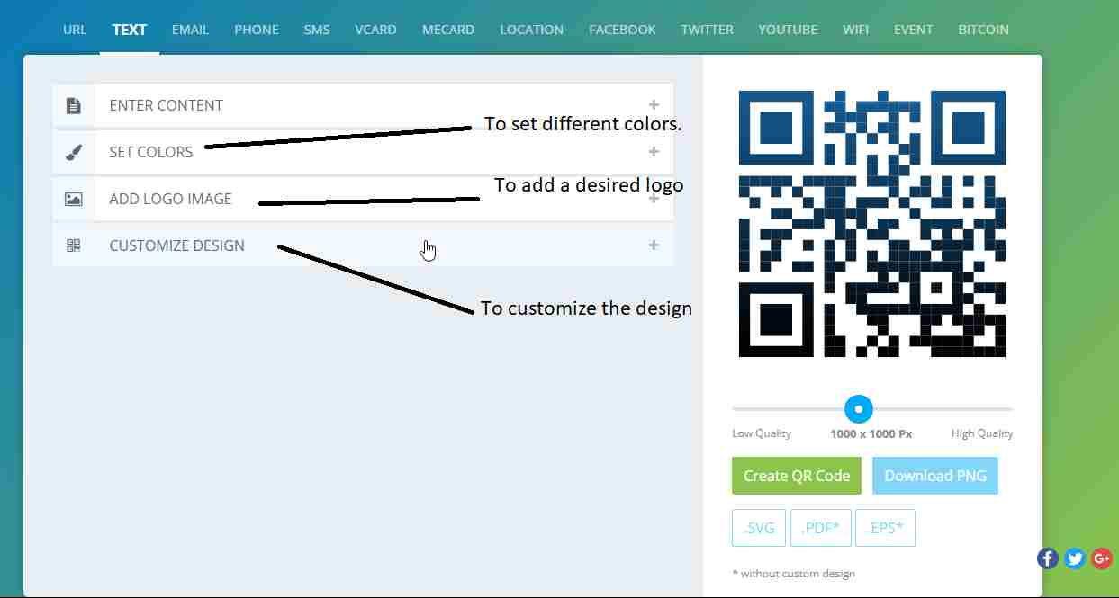 QR Code with different customization options