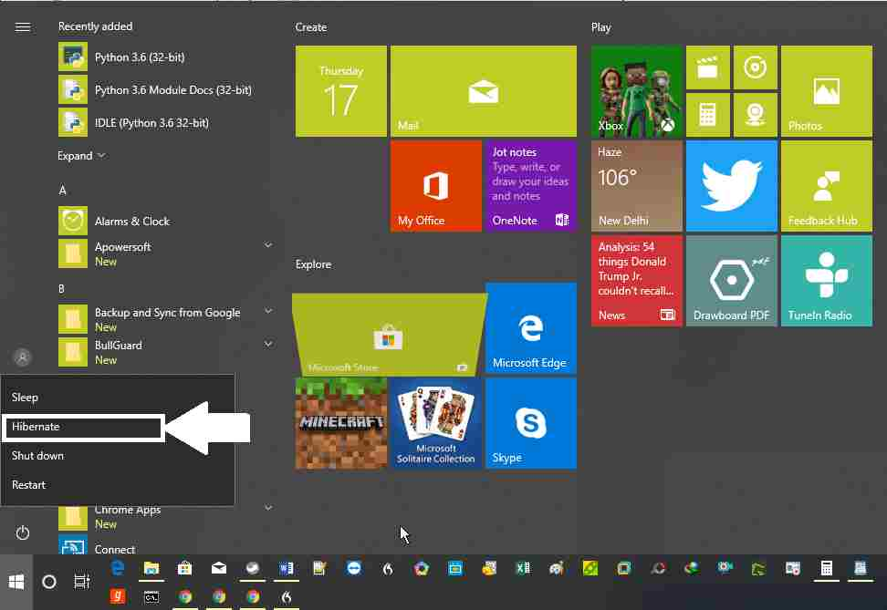 Hibernate' option in the windows 10 Power Menu.