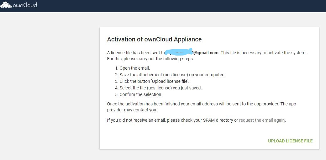 Activation of ownCloud Appliance Upload license file