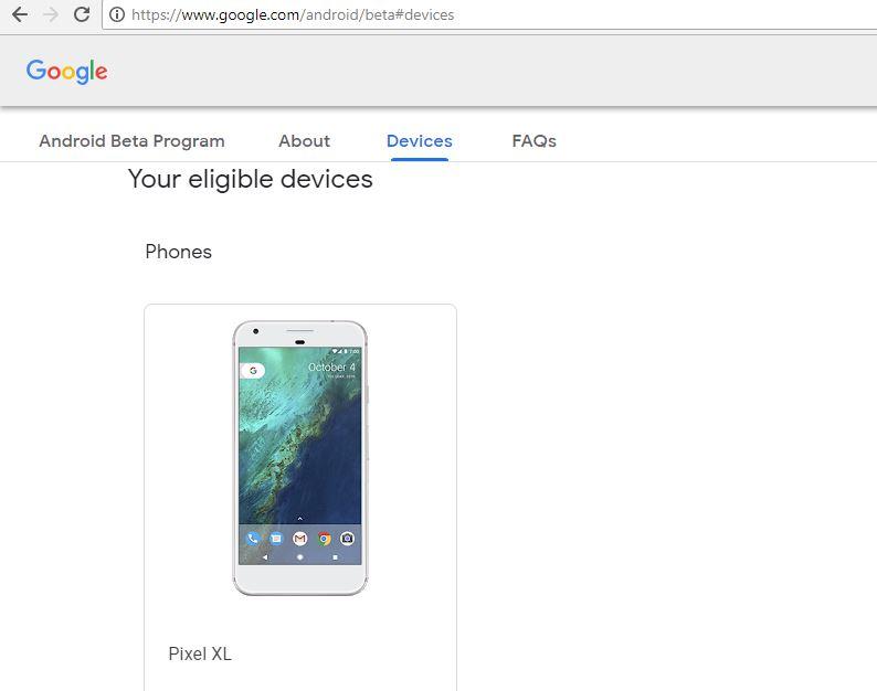 Android P beta programm enrolling