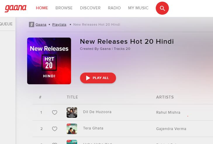 Gaana best music streaming service in India