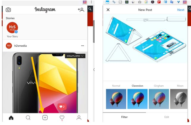 Instagram for chrome to upload photo and videos
