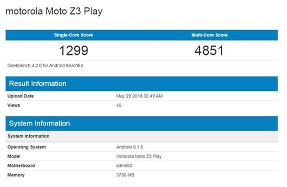 Motorola Moto Z3 gekbench