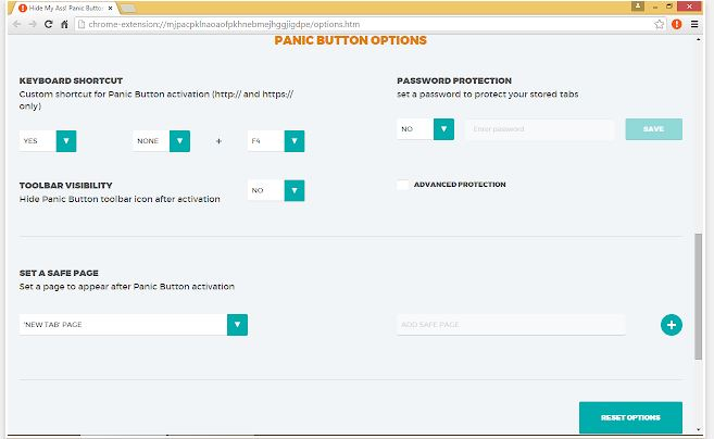 PanicButton chrome hack and extensions