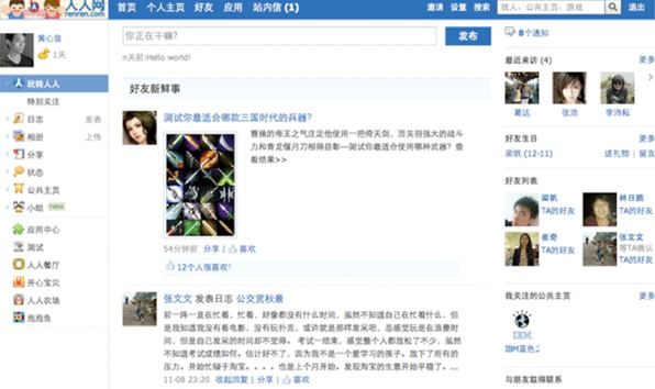 Renren chines facebook alrernative