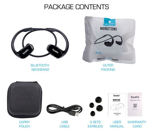 Toreto MONOTONE Wireless Stereo Headset package content