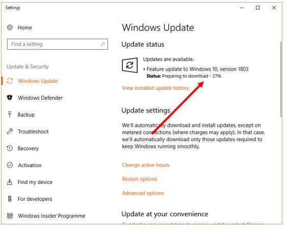 WIndows 10 version update 1803 April 2018