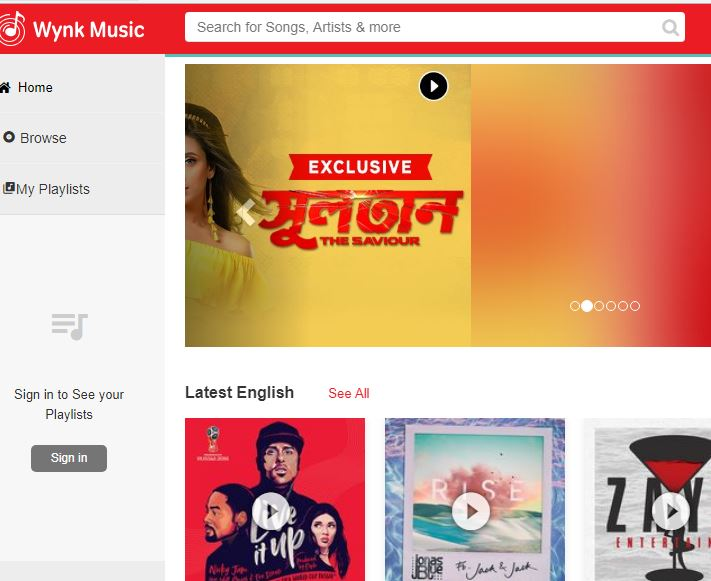 Wynk Muisc best music streaming service in India
