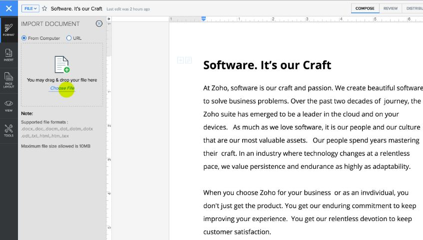 Zoho Writer free online alternative for microsoft office, excel and word