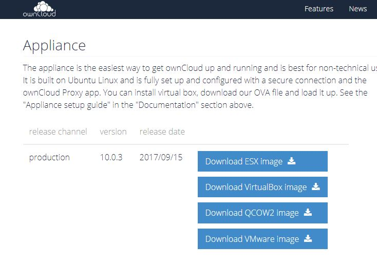 download owncloud appliances
