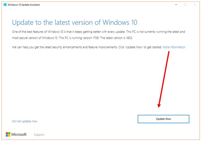 Update Assistant tool to upgrade WIndows 10
