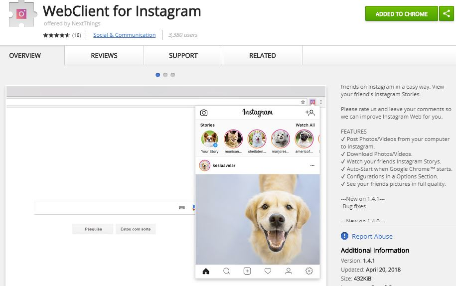 webclient for Instagram extension for chrome