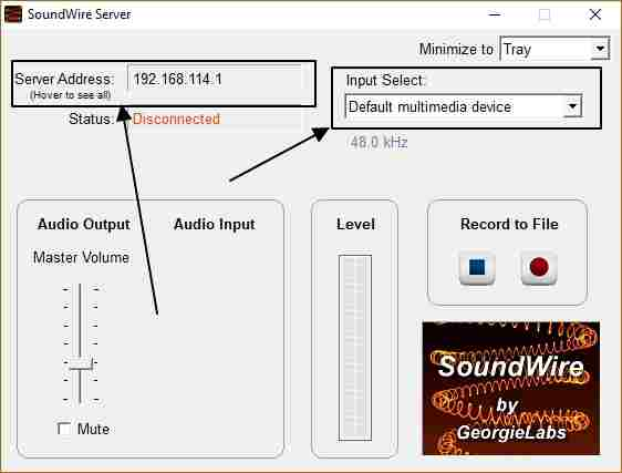 Sound wire to send audio from PC