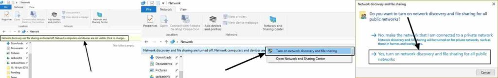 turn on network discovery,