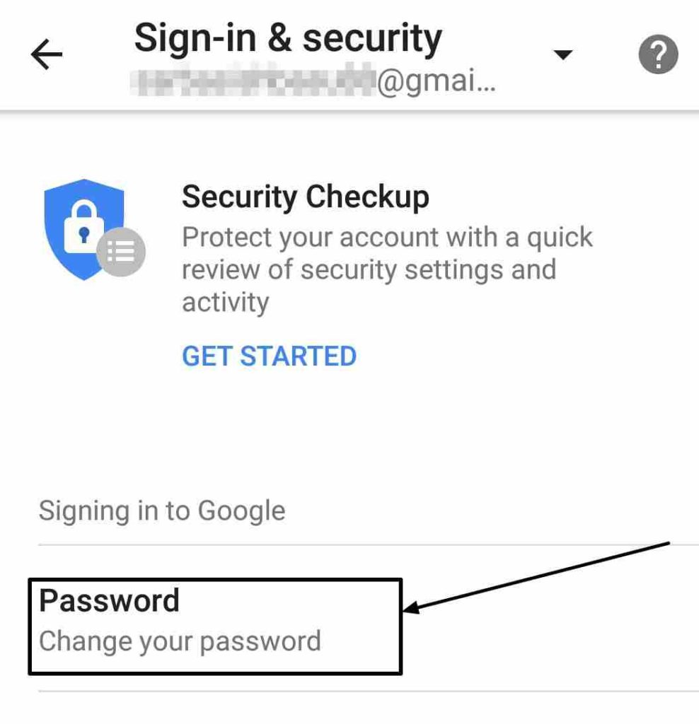 Tap on password option to change it on Android