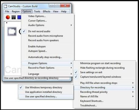 CamStudio free open source screen recoder for Windows