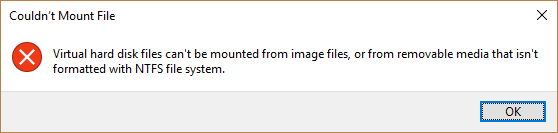 Virtual hard disk files can't be mounted from image files error
