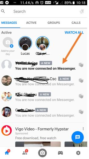 Facebook messanger you ar now connected ends