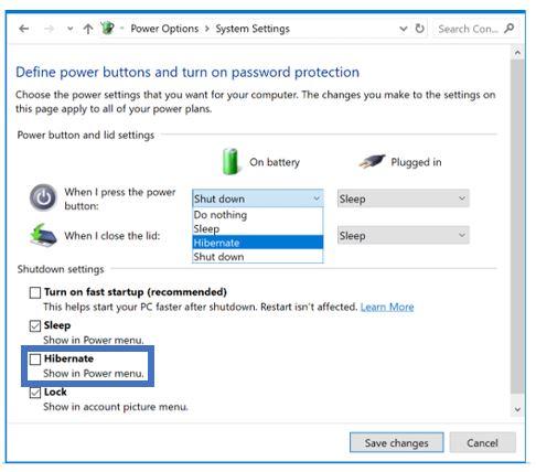 Get back the hibernate option in Windows 10