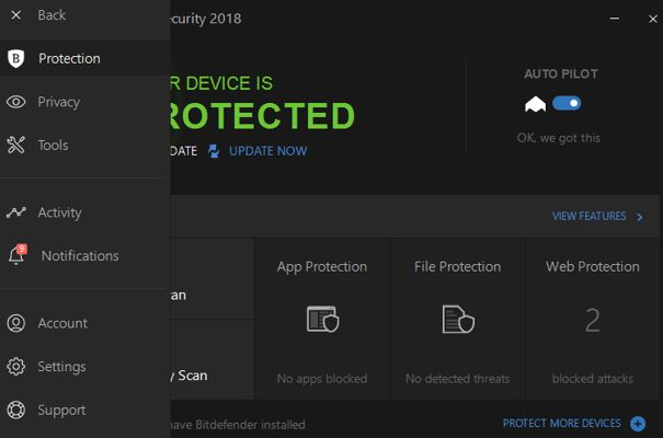 Menu of Bitdefender total security 2018 review