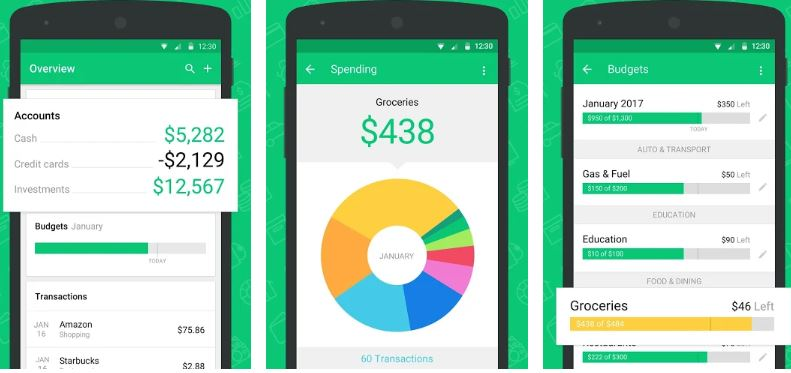 Mint Budget, Bills, Finance apps for college students