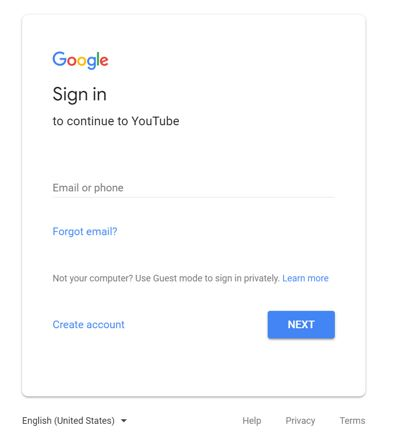 Sign in to your YouTube account.