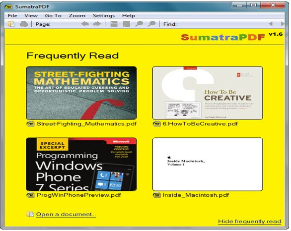 Sumatra PDF reader open source PDF