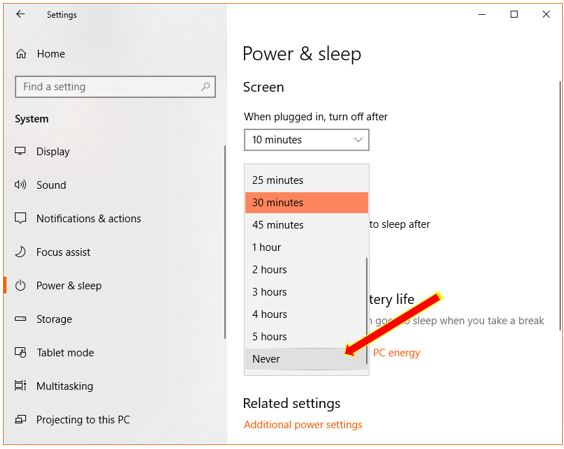 select never to turn off sleep mode on WIndows 10