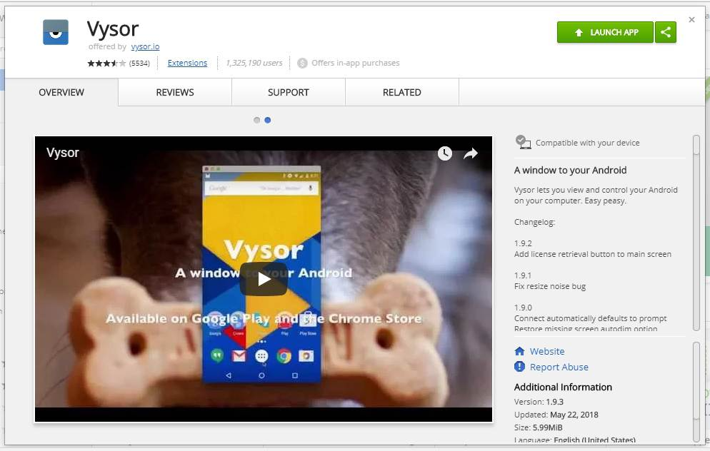 Vysor Chrome extension