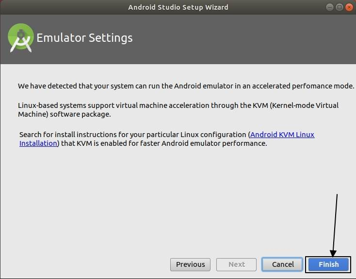 Android studio setup on Ubuntu linux finsih