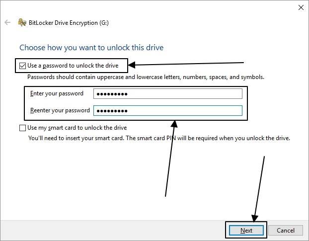 Use a password to unlock the drive'