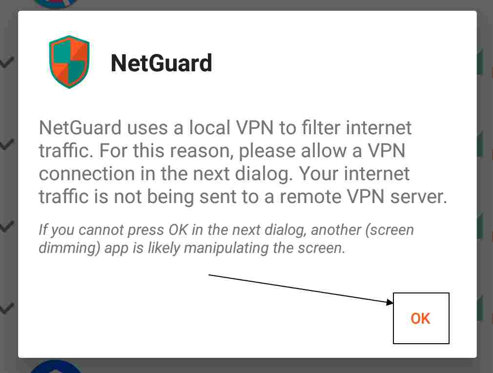 interface of NetGuard