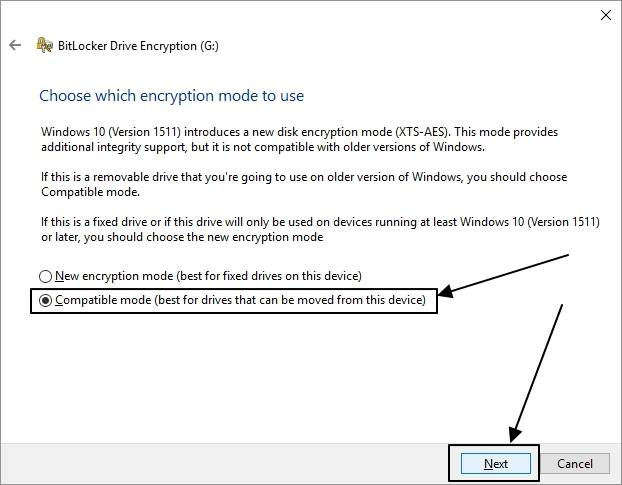 Choose encryption mode to use