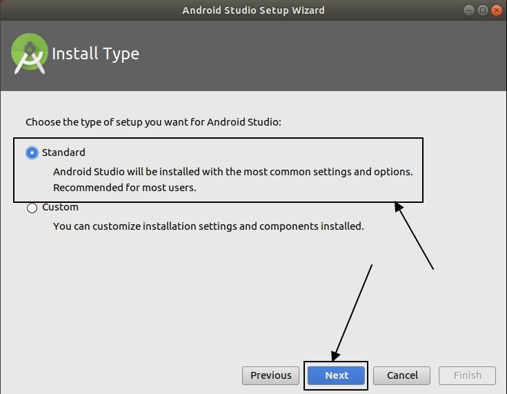 choose the type of Android studio installation you need